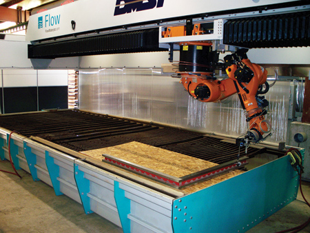 A Seventh-Axis Robotic Arm, 5-Axis Waterjet Cutting, and