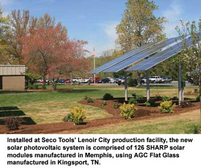 Seco tools inaugurates its first solar pv system in east for Agc flat glass north america